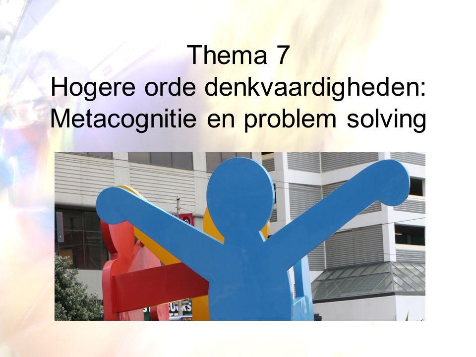 Metacognitie en instructie Het aanleren van de metacognitieve strategieën Directe instructie: de lerenden verwerven de strategieën èn de conditionele informatie De zelfregulatie benadering waarbij de lerenden: instructie + toepassings- en oefenmogelijkheden