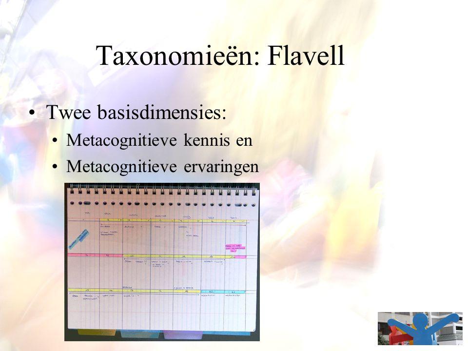 Taxonomieën: Flavell Twee basisdimensies: Metacognitieve kennis en Metacognitieve ervaringen