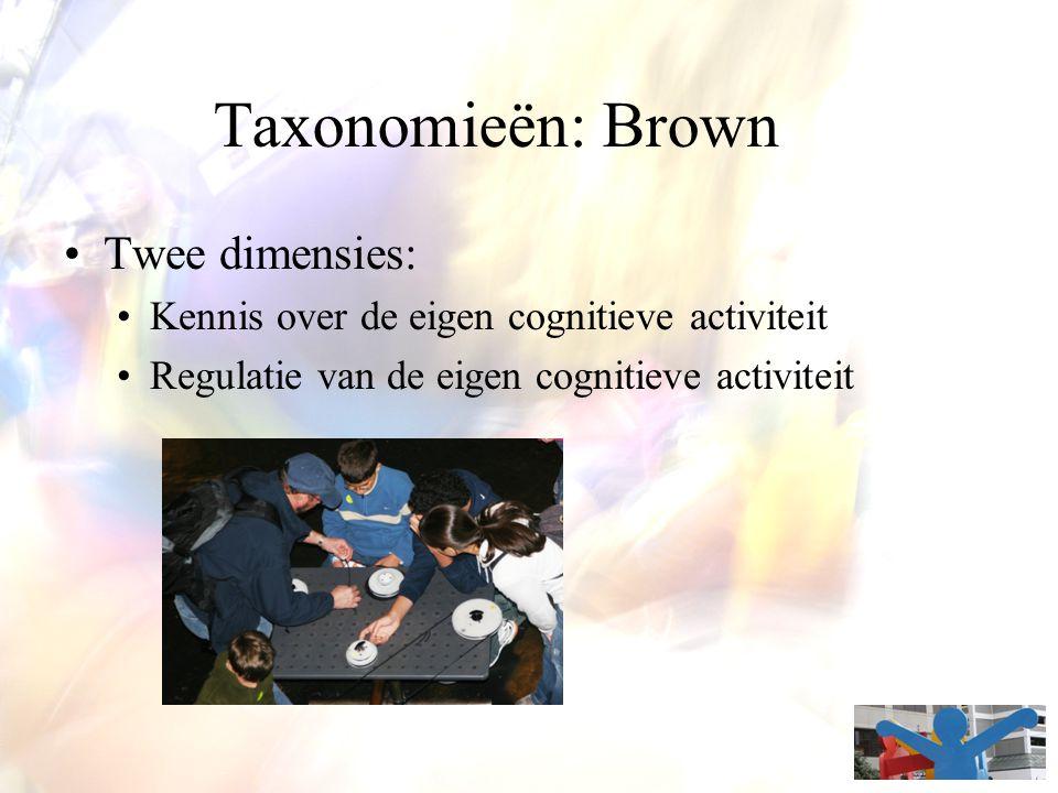 Taxonomieën: Brown Twee dimensies: Kennis over de eigen cognitieve activiteit Regulatie van de eigen cognitieve activiteit