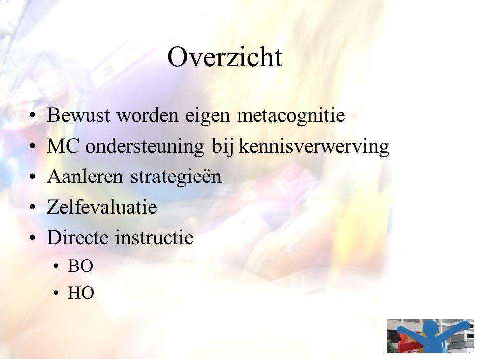 Overzicht Bewust worden eigen metacognitie MC ondersteuning bij kennisverwerving Aanleren strategieën Zelfevaluatie Directe instructie BO HO