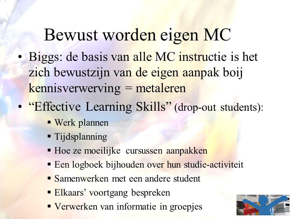 """Bewust worden eigen MC Biggs: de basis van alle MC instructie is het zich bewustzijn van de eigen aanpak boij kennisverwerving = metaleren """"Effective"""