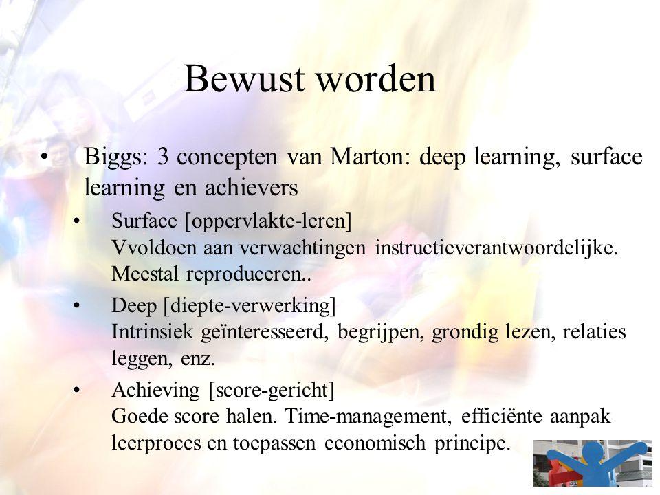 Bewust worden Biggs: 3 concepten van Marton: deep learning, surface learning en achievers Surface [oppervlakte-leren] Vvoldoen aan verwachtingen instr