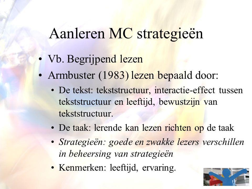 Aanleren MC strategieën Vb. Begrijpend lezen Armbuster (1983) lezen bepaald door: De tekst: tekststructuur, interactie-effect tussen tekststructuur en