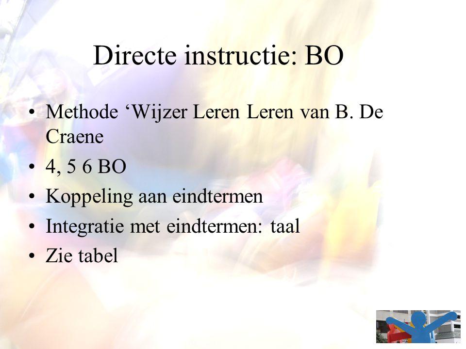 Directe instructie: BO Methode 'Wijzer Leren Leren van B. De Craene 4, 5 6 BO Koppeling aan eindtermen Integratie met eindtermen: taal Zie tabel