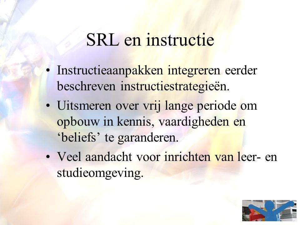 SRL en instructie Instructieaanpakken integreren eerder beschreven instructiestrategieën. Uitsmeren over vrij lange periode om opbouw in kennis, vaard
