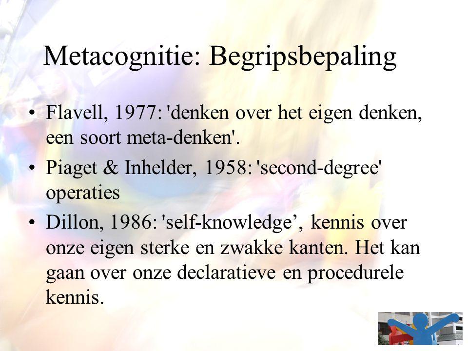 Roots van metacognitie Flavell (1971) basislegger Brown (1987) 4 grote stromingen Het verbaal rapporteren over de eigen cognitieve activiteit (Wundt, Locke, Buhler, Rozin, …) Onderzoek rond 'executive control' Zelfregulatie: sturen van eigen denken 'Regulatie-door-de-ander' (Vygotsky van interindividueel tot intraindividueel – van regulatie door ander naar zelfregulatie)