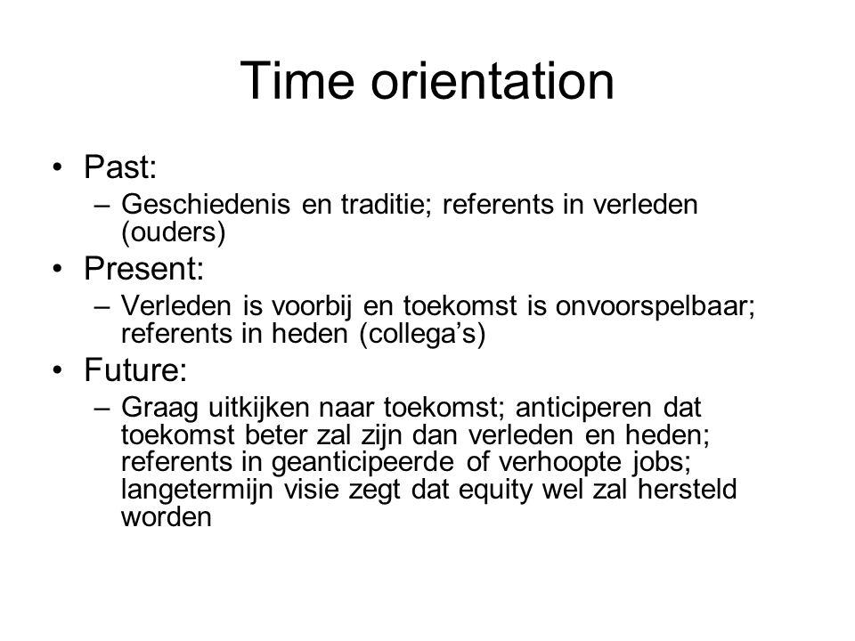 Time orientation Past: –Geschiedenis en traditie; referents in verleden (ouders) Present: –Verleden is voorbij en toekomst is onvoorspelbaar; referents in heden (collega's) Future: –Graag uitkijken naar toekomst; anticiperen dat toekomst beter zal zijn dan verleden en heden; referents in geanticipeerde of verhoopte jobs; langetermijn visie zegt dat equity wel zal hersteld worden