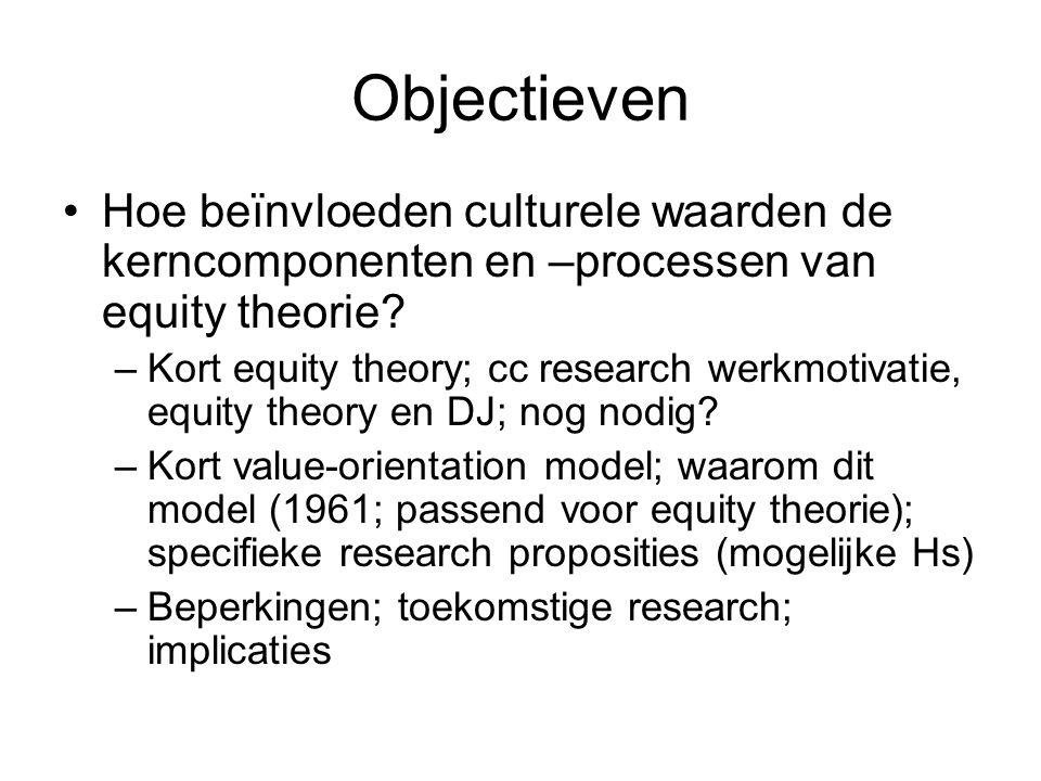 Objectieven Hoe beïnvloeden culturele waarden de kerncomponenten en –processen van equity theorie.