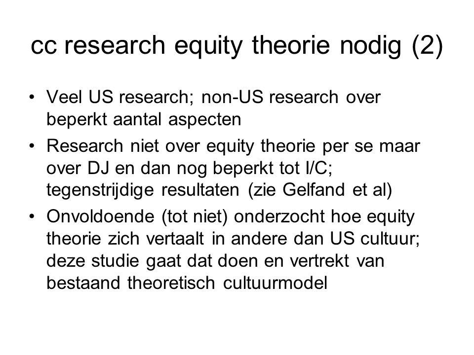 cc research equity theorie nodig (2) Veel US research; non-US research over beperkt aantal aspecten Research niet over equity theorie per se maar over DJ en dan nog beperkt tot I/C; tegenstrijdige resultaten (zie Gelfand et al) Onvoldoende (tot niet) onderzocht hoe equity theorie zich vertaalt in andere dan US cultuur; deze studie gaat dat doen en vertrekt van bestaand theoretisch cultuurmodel
