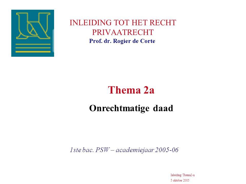 INLEIDING TOT HET RECHT PRIVAATRECHT 1ste bac. PSW – academiejaar 2005-06 Prof. dr. Rogier de Corte Inleiding Thema2-a 5 oktober 2005 Thema 2a Onrecht
