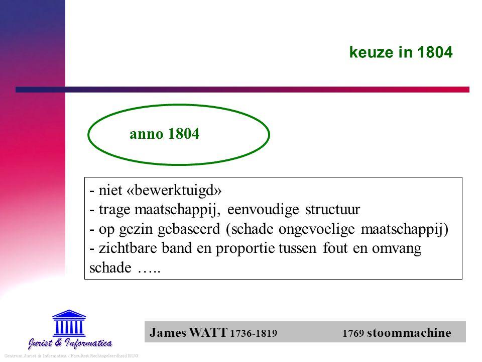 keuze in 1804 anno 1804 - niet «bewerktuigd» - trage maatschappij, eenvoudige structuur - op gezin gebaseerd (schade ongevoelige maatschappij) - zicht
