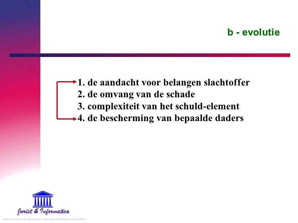 b - evolutie 1. de aandacht voor belangen slachtoffer 2. de omvang van de schade 3. complexiteit van het schuld-element 4. de bescherming van bepaalde