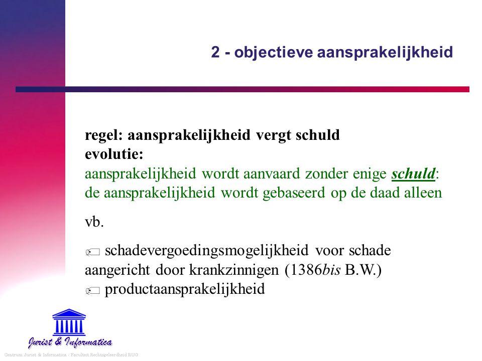 2 - objectieve aansprakelijkheid regel: aansprakelijkheid vergt schuld evolutie: aansprakelijkheid wordt aanvaard zonder enige schuld: de aansprakelij