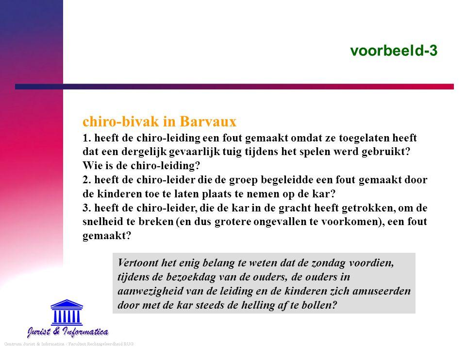 voorbeeld-3 chiro-bivak in Barvaux 1. heeft de chiro-leiding een fout gemaakt omdat ze toegelaten heeft dat een dergelijk gevaarlijk tuig tijdens het