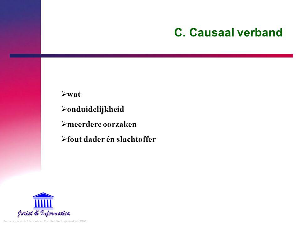 C. Causaal verband  wat  onduidelijkheid  meerdere oorzaken  fout dader én slachtoffer