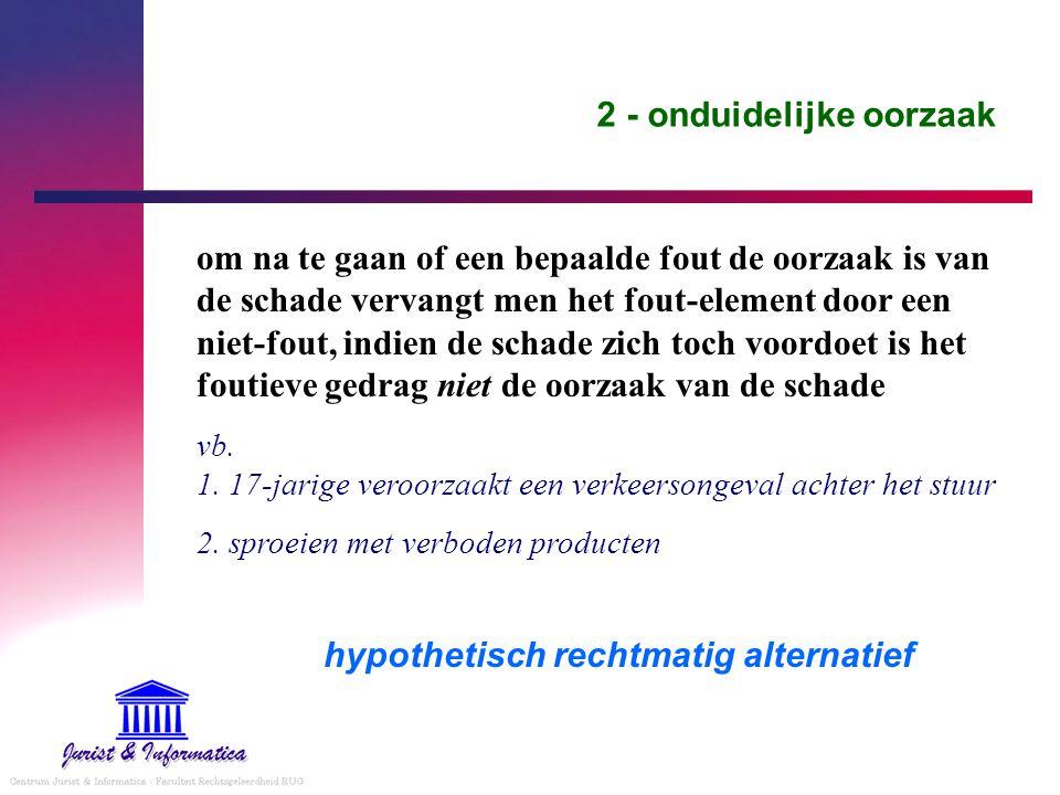 2 - onduidelijke oorzaak om na te gaan of een bepaalde fout de oorzaak is van de schade vervangt men het fout-element door een niet-fout, indien de sc