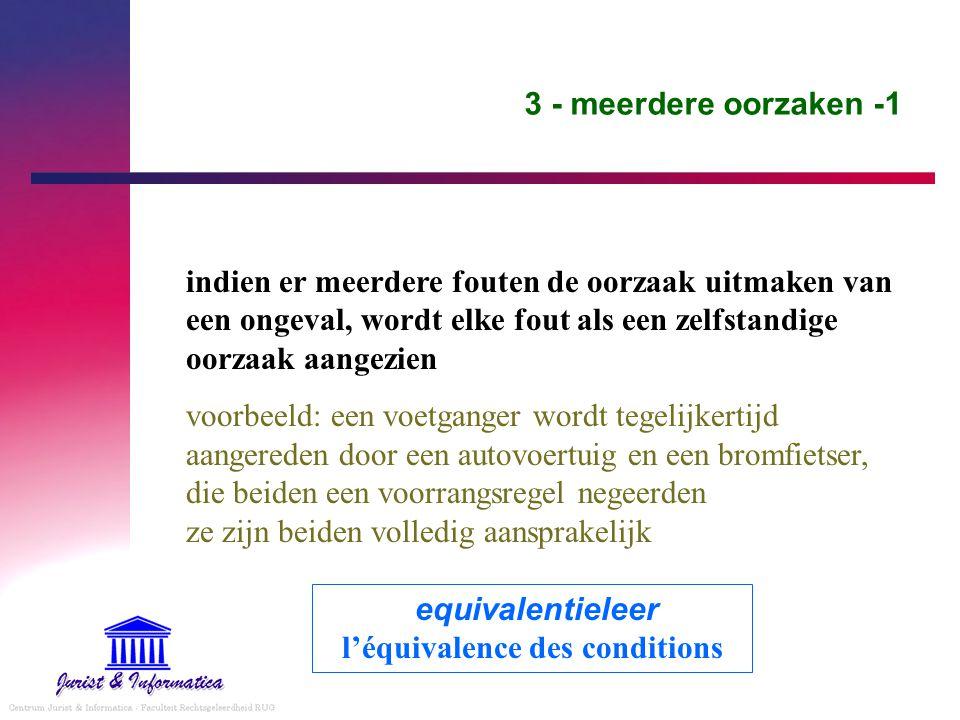 3 - meerdere oorzaken -1 indien er meerdere fouten de oorzaak uitmaken van een ongeval, wordt elke fout als een zelfstandige oorzaak aangezien voorbee