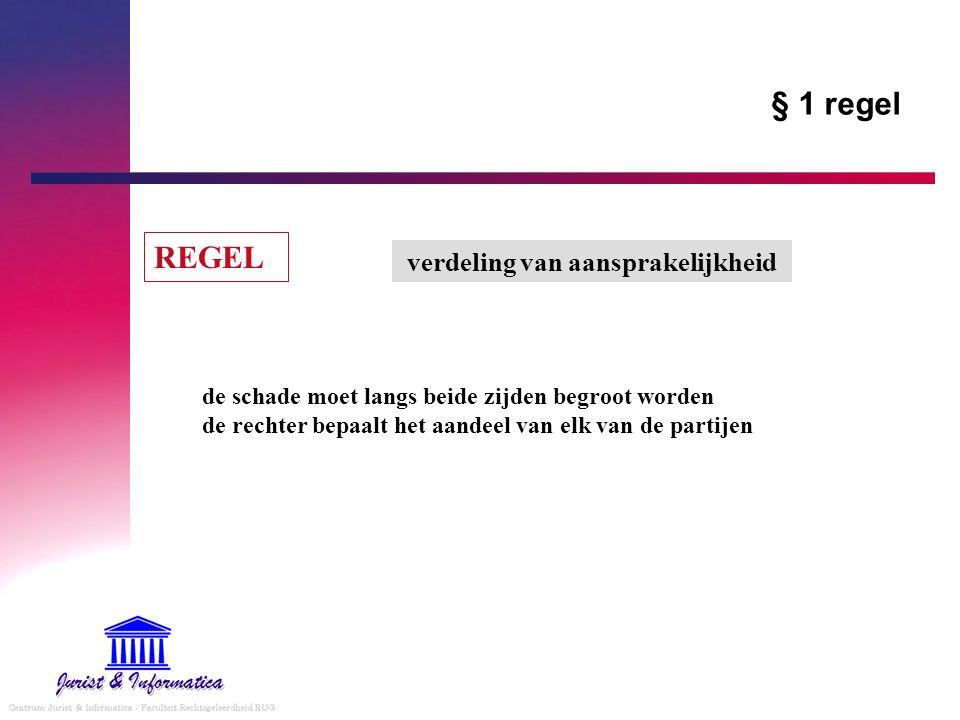 § 1 regel REGEL verdeling van aansprakelijkheid de schade moet langs beide zijden begroot worden de rechter bepaalt het aandeel van elk van de partije