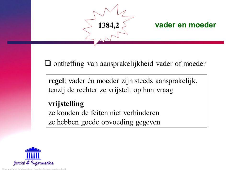 vader en moeder 1384,2 regel: vader én moeder zijn steeds aansprakelijk, tenzij de rechter ze vrijstelt op hun vraag vrijstelling ze konden de feiten