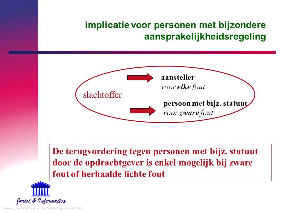 implicatie voor personen met bijzondere aansprakelijkheidsregeling slachtoffer aansteller voor elke fout persoon met bijz. statuut voor zware fout De