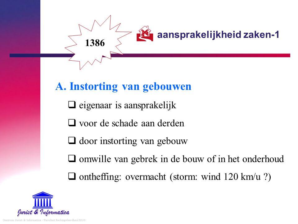 aansprakelijkheid zaken-1 A. Instorting van gebouwen  eigenaar is aansprakelijk  voor de schade aan derden  door instorting van gebouw  omwille