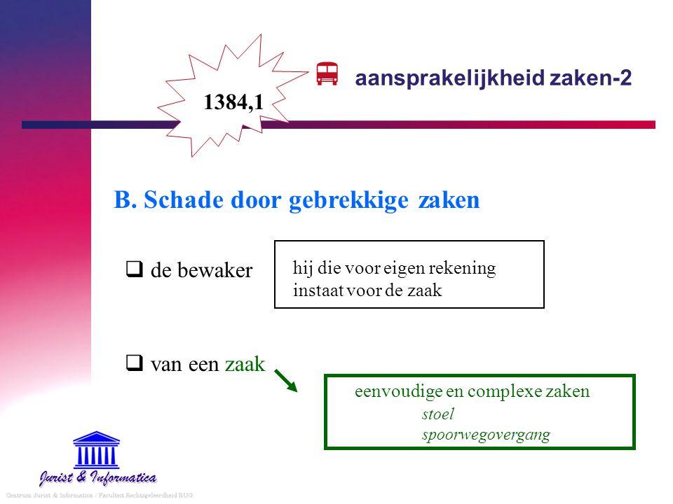  aansprakelijkheid zaken-2 B. Schade door gebrekkige zaken  de bewaker  van een zaak eenvoudige en complexe zaken stoel spoorwegovergang 1384,1 hij