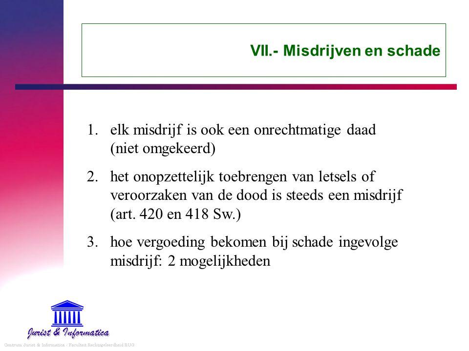 VII.- Misdrijven en schade 1.elk misdrijf is ook een onrechtmatige daad (niet omgekeerd) 2.het onopzettelijk toebrengen van letsels of veroorzaken van