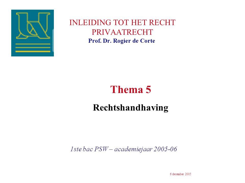 INLEIDING TOT HET RECHT PRIVAATRECHT 1ste bac PSW – academiejaar 2005-06 Prof. Dr. Rogier de Corte 6 december 2005 Thema 5 Rechtshandhaving