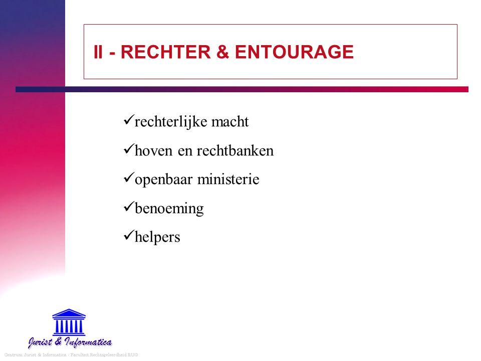 II - RECHTER & ENTOURAGE rechterlijke macht hoven en rechtbanken openbaar ministerie benoeming helpers