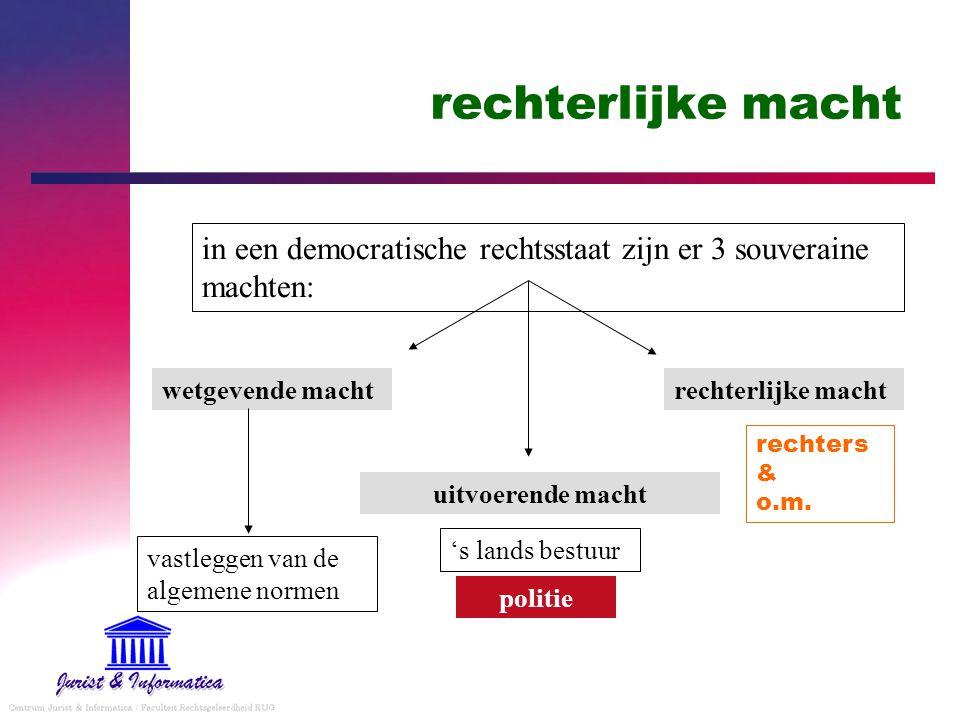 rechterlijke macht in een democratische rechtsstaat zijn er 3 souveraine machten: wetgevende macht uitvoerende macht rechterlijke macht vastleggen van