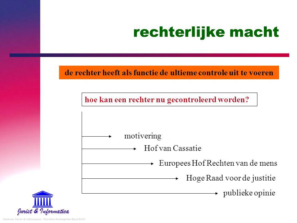 rechterlijke macht hoe kan een rechter nu gecontroleerd worden? Hof van Cassatie Europees Hof Rechten van de mens Hoge Raad voor de justitie motiverin