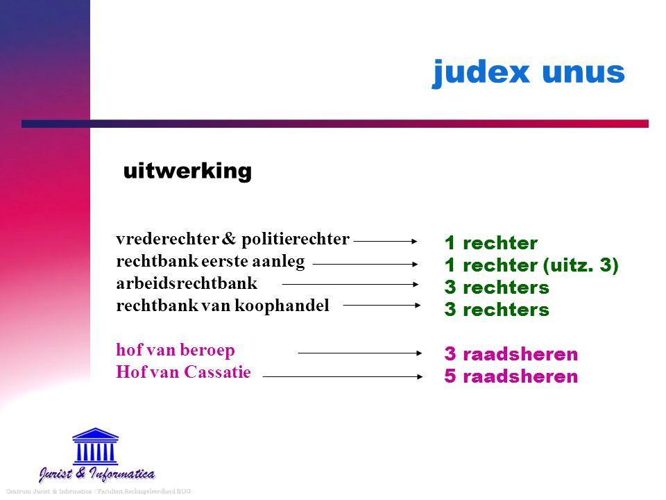 judex unus uitwerking vrederechter & politierechter rechtbank eerste aanleg arbeidsrechtbank rechtbank van koophandel hof van beroep Hof van Cassatie