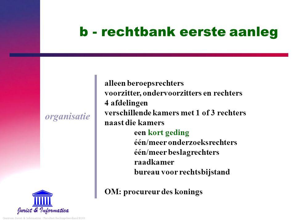 b - rechtbank eerste aanleg organisatie alleen beroepsrechters voorzitter, ondervoorzitters en rechters 4 afdelingen verschillende kamers met 1 of 3 r