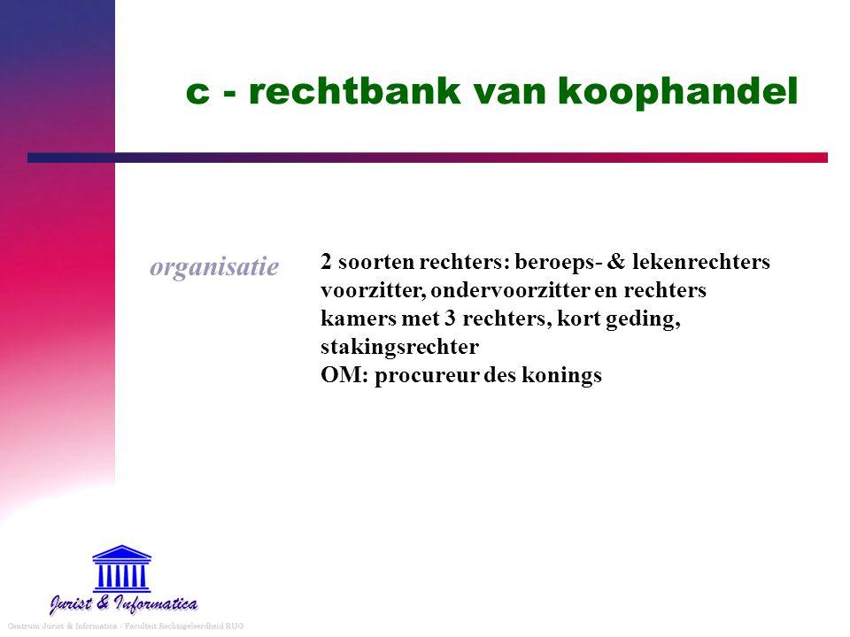 c - rechtbank van koophandel organisatie 2 soorten rechters: beroeps- & lekenrechters voorzitter, ondervoorzitter en rechters kamers met 3 rechters, k