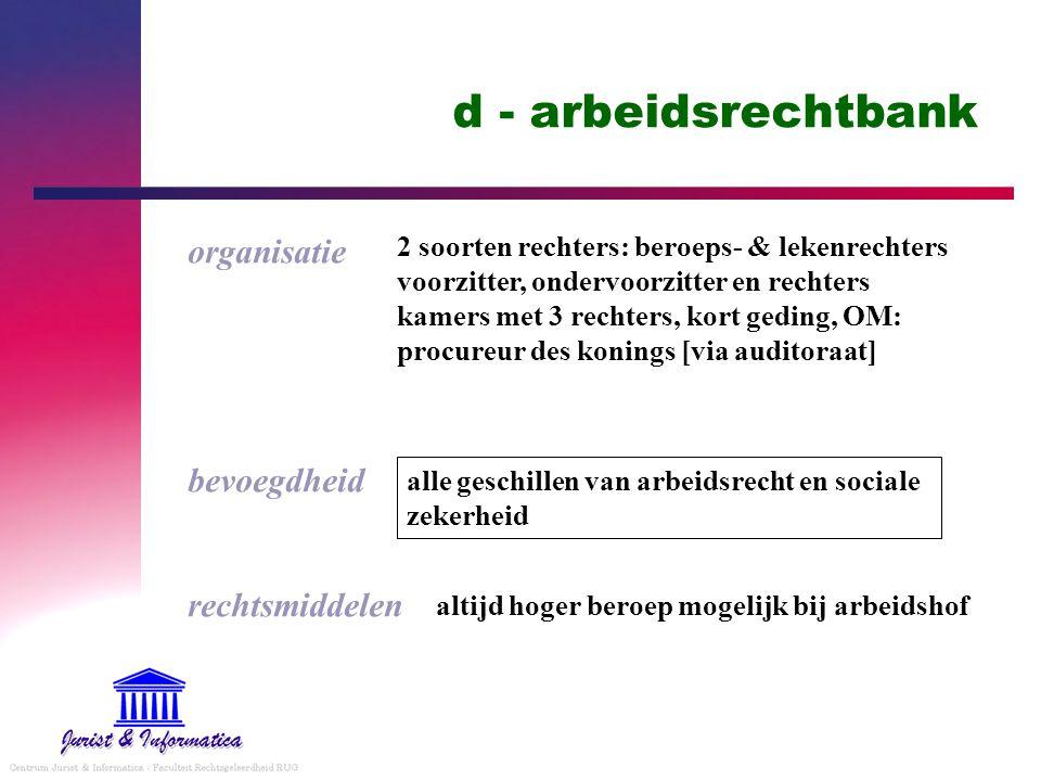 d - arbeidsrechtbank organisatie bevoegdheid rechtsmiddelen alle geschillen van arbeidsrecht en sociale zekerheid 2 soorten rechters: beroeps- & leken