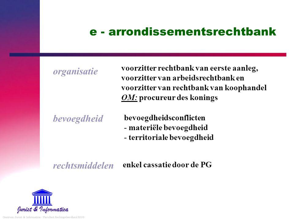 e - arrondissementsrechtbank organisatie bevoegdheid rechtsmiddelen voorzitter rechtbank van eerste aanleg, voorzitter van arbeidsrechtbank en voorzit