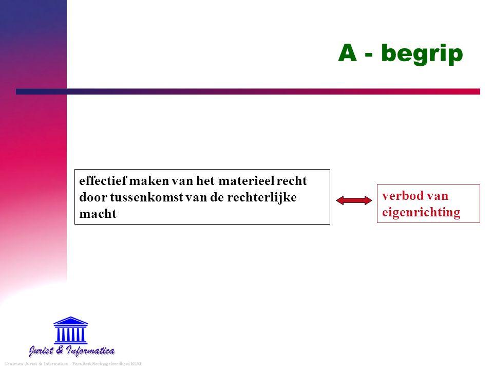 A - begrip effectief maken van het materieel recht door tussenkomst van de rechterlijke macht verbod van eigenrichting