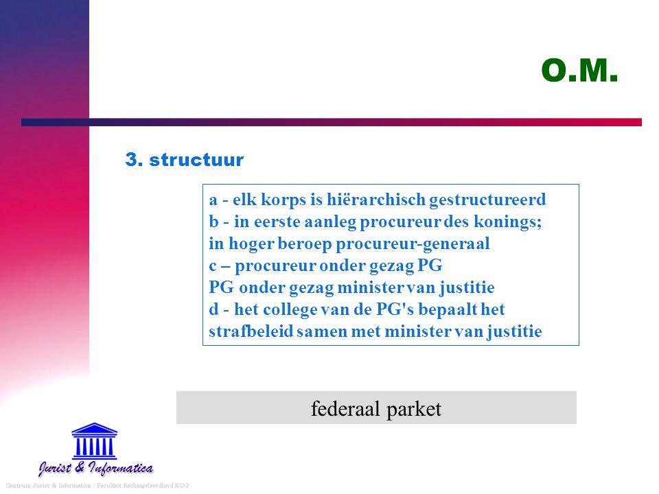 O.M. 3. structuur a - elk korps is hiërarchisch gestructureerd b - in eerste aanleg procureur des konings; in hoger beroep procureur-generaal c – proc
