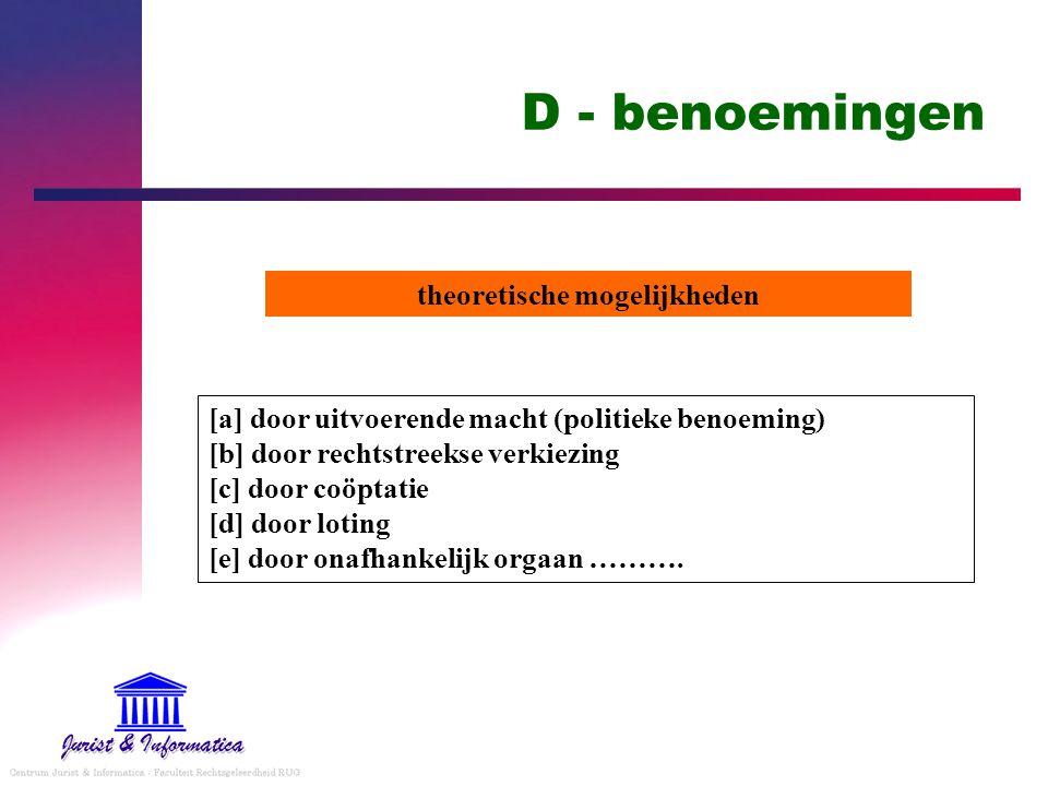 D - benoemingen [a] door uitvoerende macht (politieke benoeming) [b] door rechtstreekse verkiezing [c] door coöptatie [d] door loting [e] door onafhan
