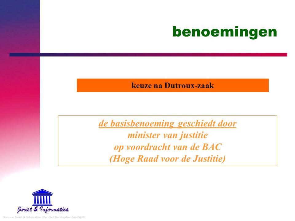 benoemingen de basisbenoeming geschiedt door minister van justitie op voordracht van de BAC (Hoge Raad voor de Justitie) keuze na Dutroux-zaak