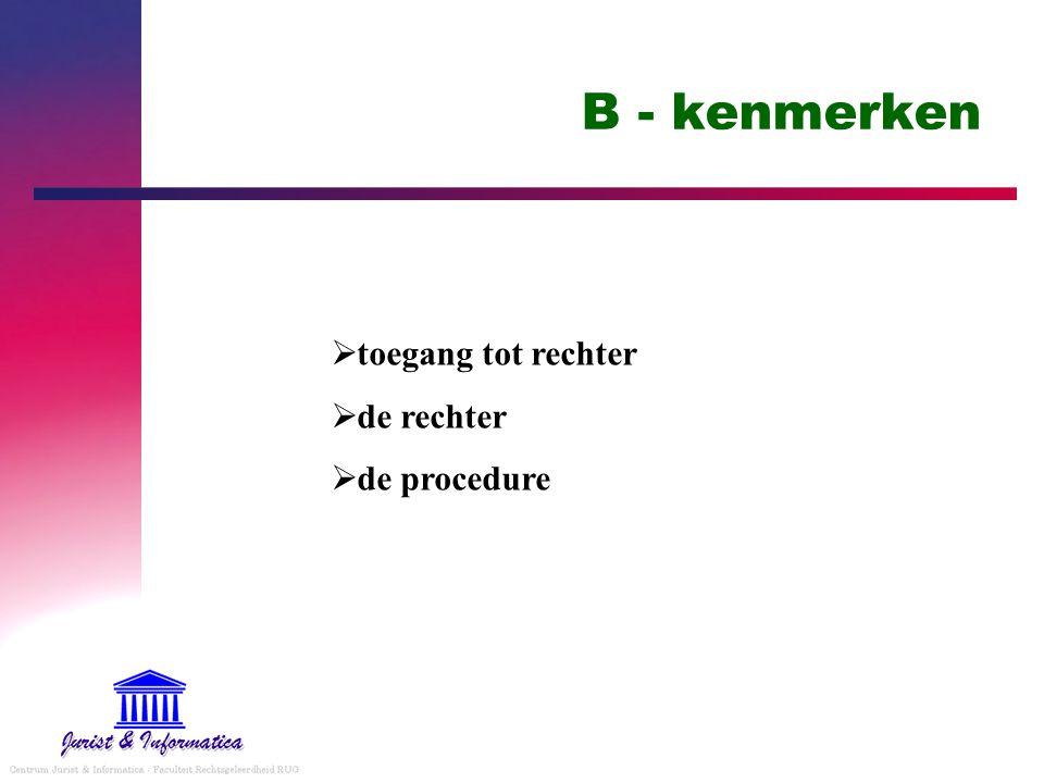 B - kenmerken  toegang tot rechter  de rechter  de procedure