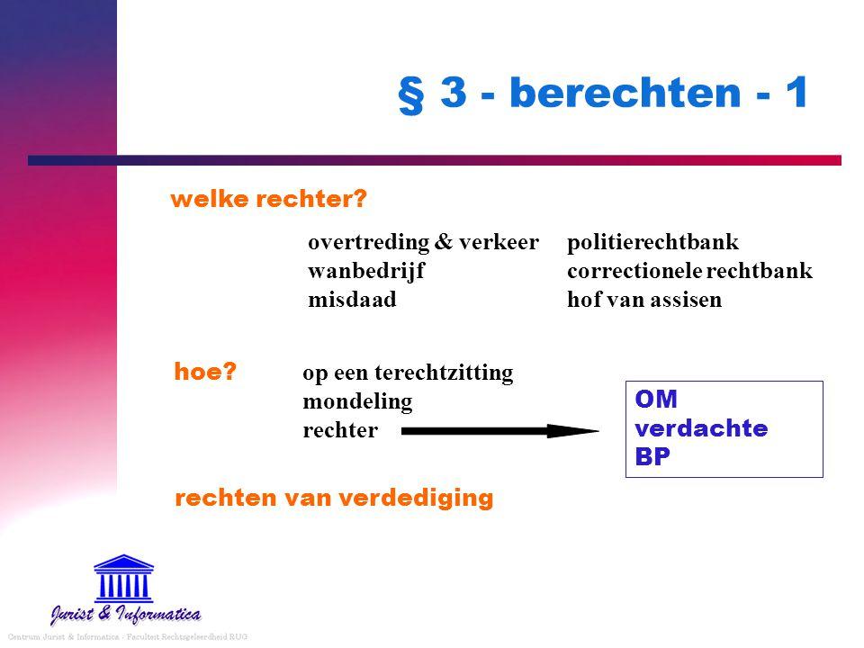 § 3 - berechten - 1 hoe? rechten van verdediging welke rechter? overtreding & verkeerpolitierechtbank wanbedrijfcorrectionele rechtbank misdaadhof van