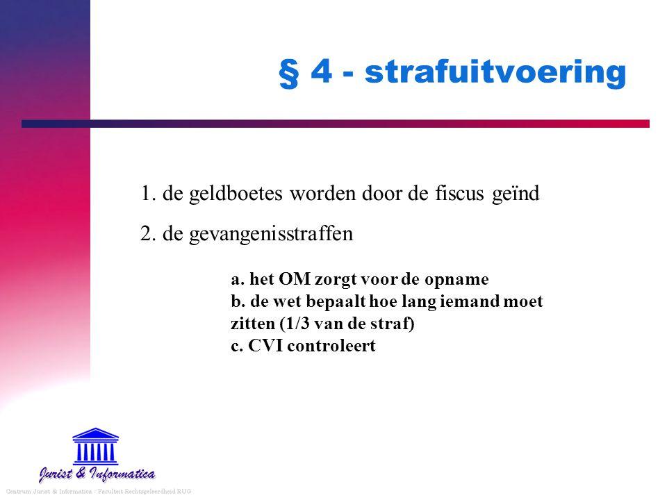 § 4 - strafuitvoering 1. de geldboetes worden door de fiscus geïnd 2. de gevangenisstraffen a. het OM zorgt voor de opname b. de wet bepaalt hoe lang