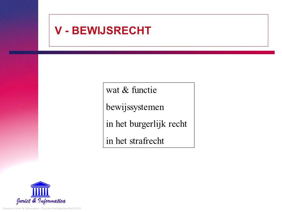 V - BEWIJSRECHT wat & functie bewijssystemen in het burgerlijk recht in het strafrecht