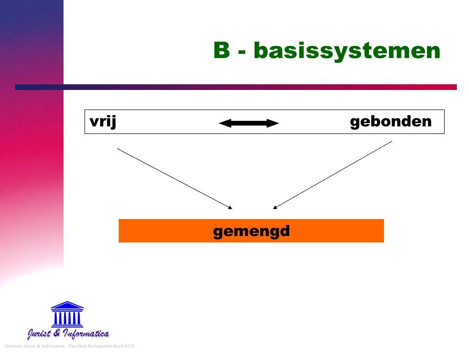 B - basissystemen vrij gebonden gemengd