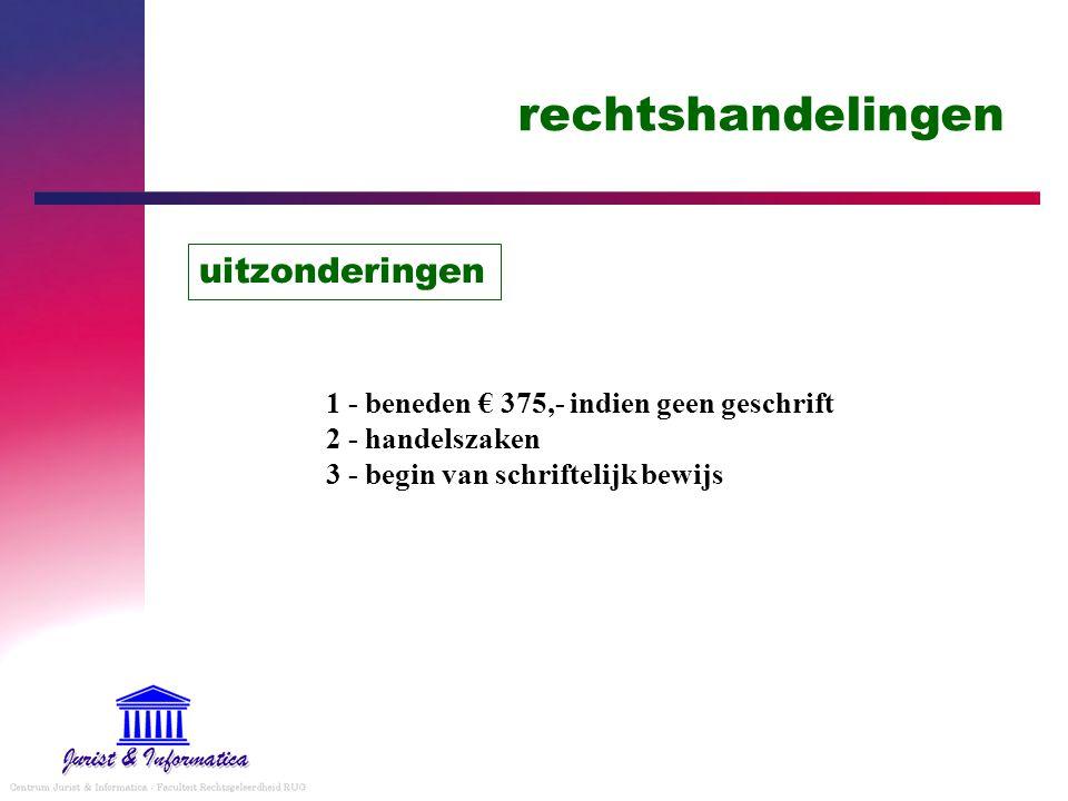 rechtshandelingen uitzonderingen 1 - beneden € 375,- indien geen geschrift 2 - handelszaken 3 - begin van schriftelijk bewijs