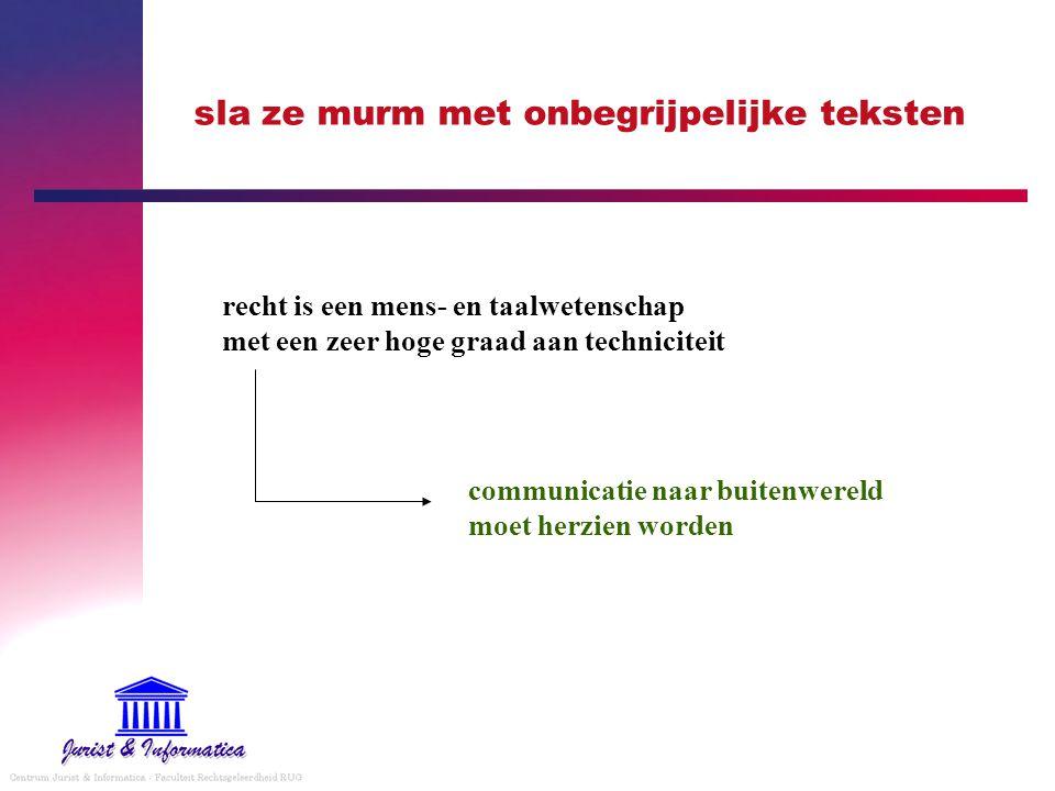 sla ze murm met onbegrijpelijke teksten recht is een mens- en taalwetenschap met een zeer hoge graad aan techniciteit communicatie naar buitenwereld m