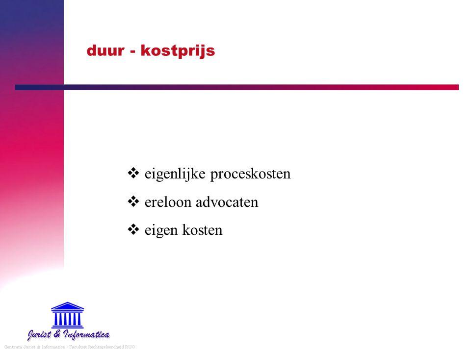 duur - kostprijs  eigenlijke proceskosten  ereloon advocaten  eigen kosten