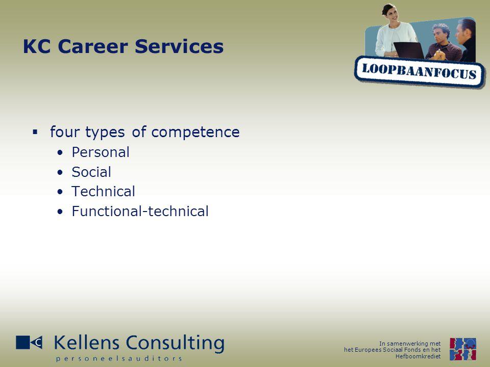 In samenwerking met het Europees Sociaal Fonds en het Hefboomkrediet KC Career Services  four types of competence Personal Social Technical Functional-technical