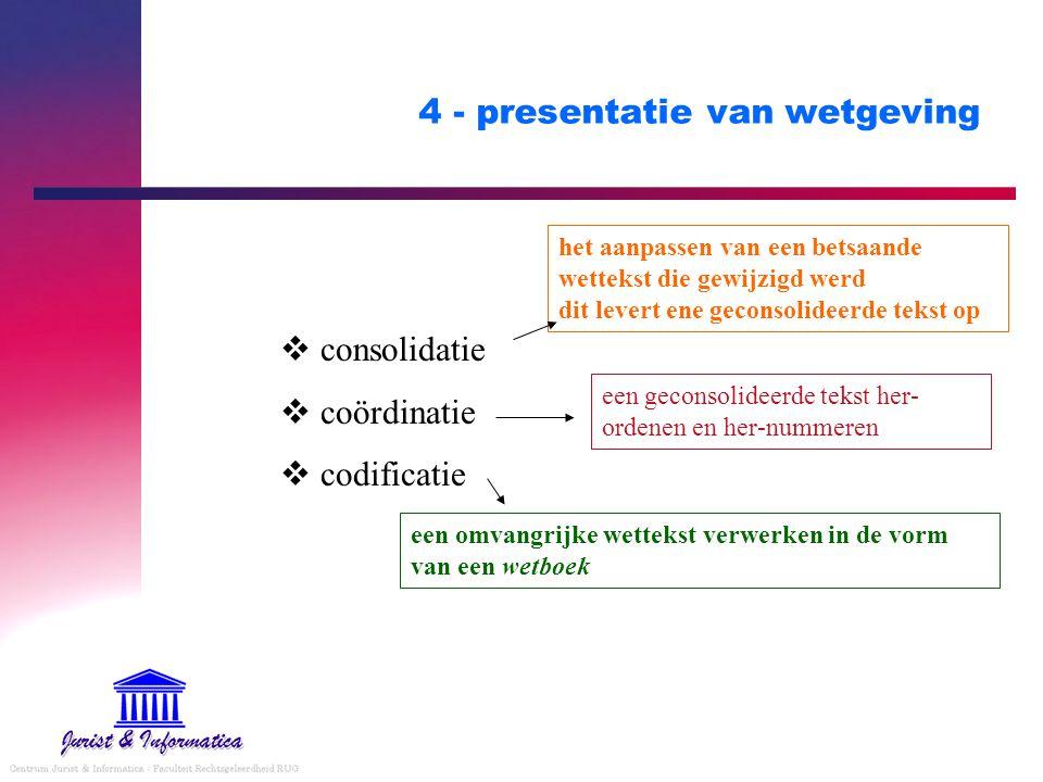 4 - presentatie van wetgeving  consolidatie  coördinatie  codificatie het aanpassen van een betsaande wettekst die gewijzigd werd dit levert ene geconsolideerde tekst op een geconsolideerde tekst her- ordenen en her-nummeren een omvangrijke wettekst verwerken in de vorm van een wetboek